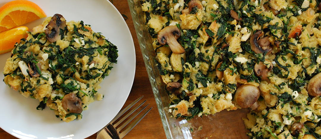 Spinach, Mushroom and Feta Bake